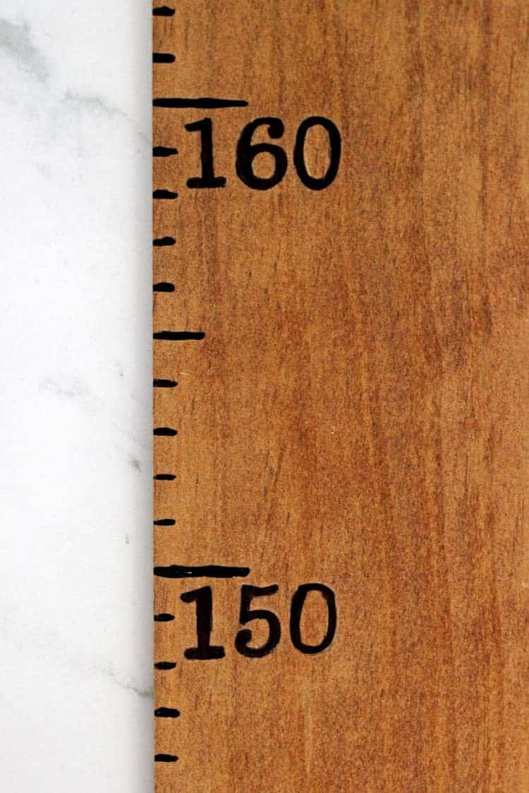 DIY ruler growth chart close up of numbers