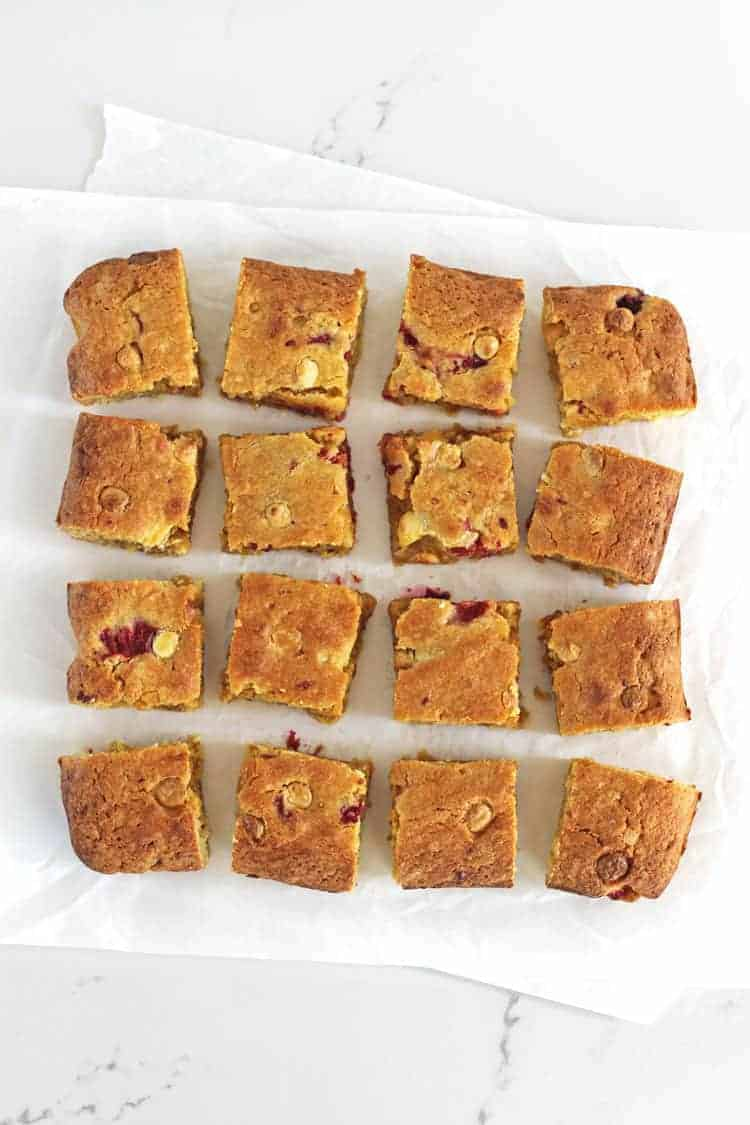 16 squares of blondie on a white background