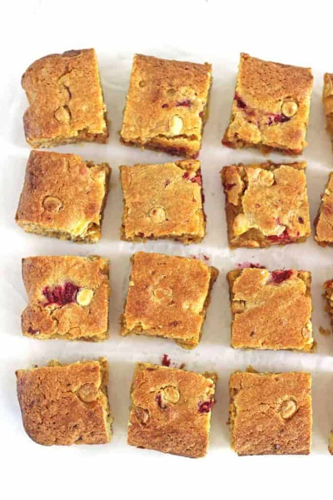 Raspberry and White Chocolate Blondies