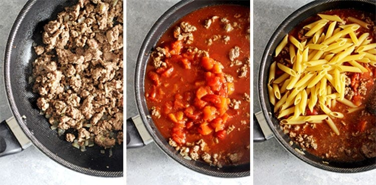 Collage of process of making one pan mince pasta