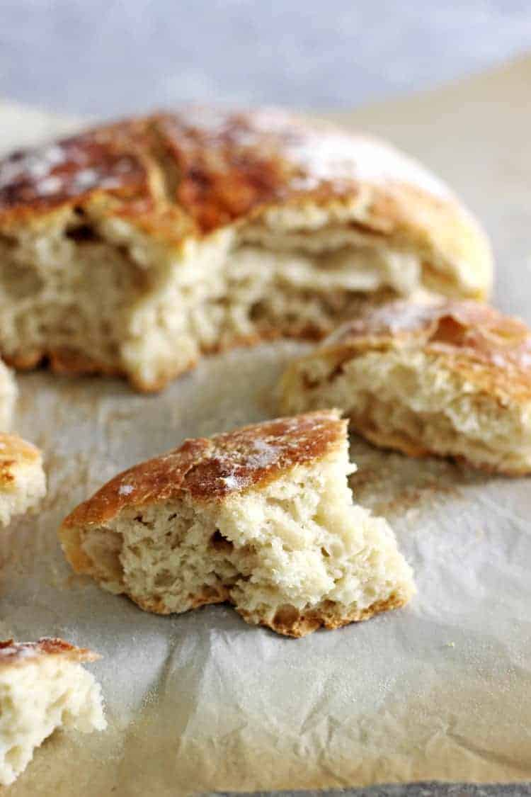 Pieces broken off a loaf of no knead white bread