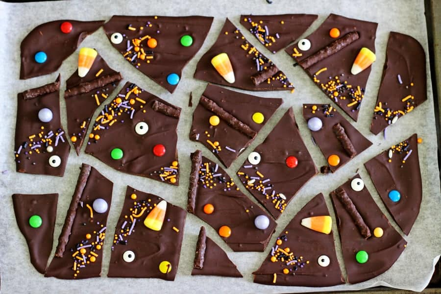 Halloween candy chocolate bark in pieces
