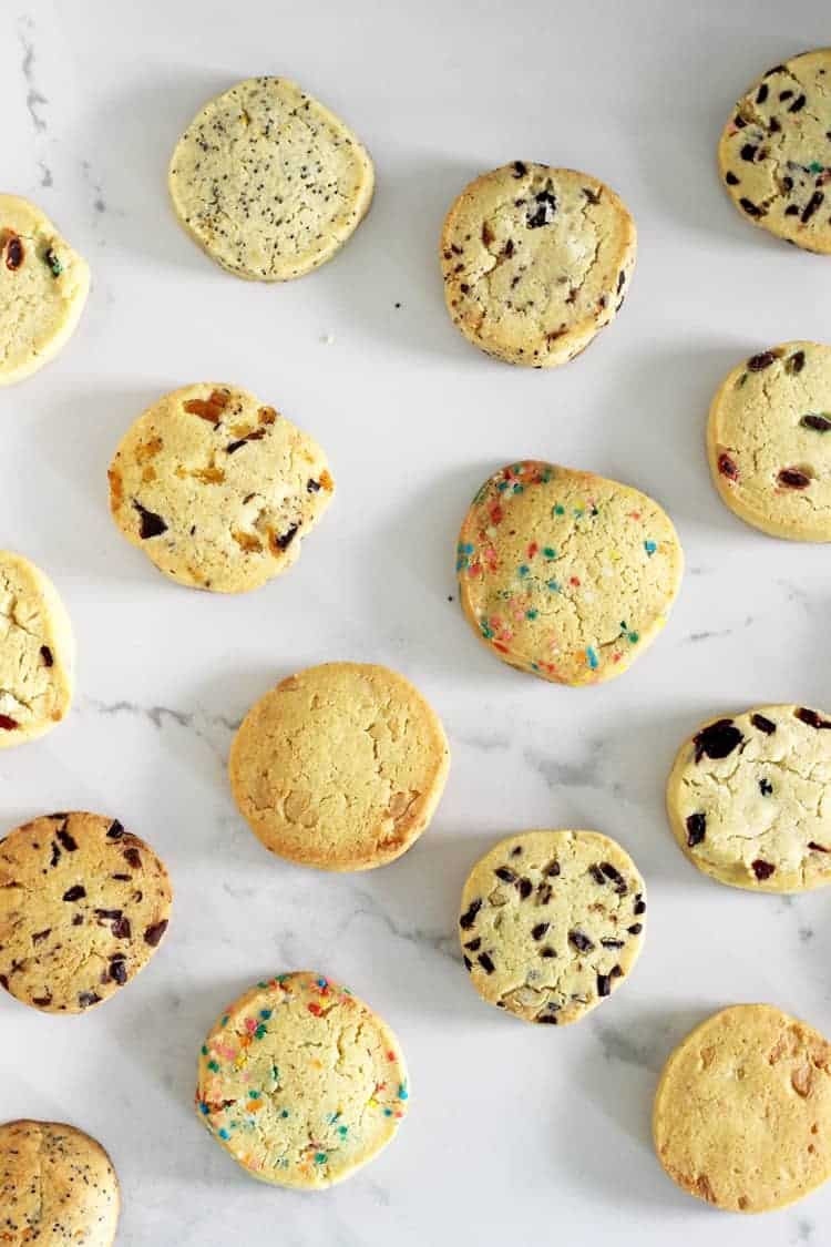 9 flavours of slice and bake cookies on a white background
