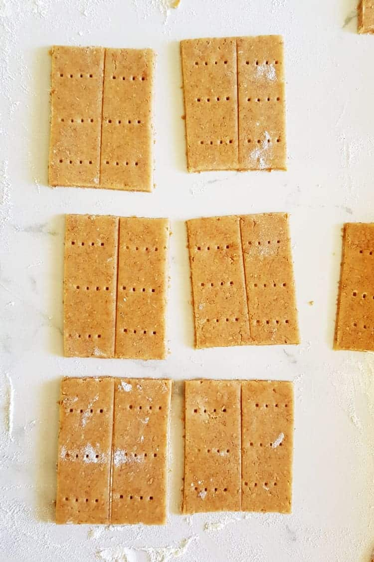 Homemade graham crackers cut out ready for oven