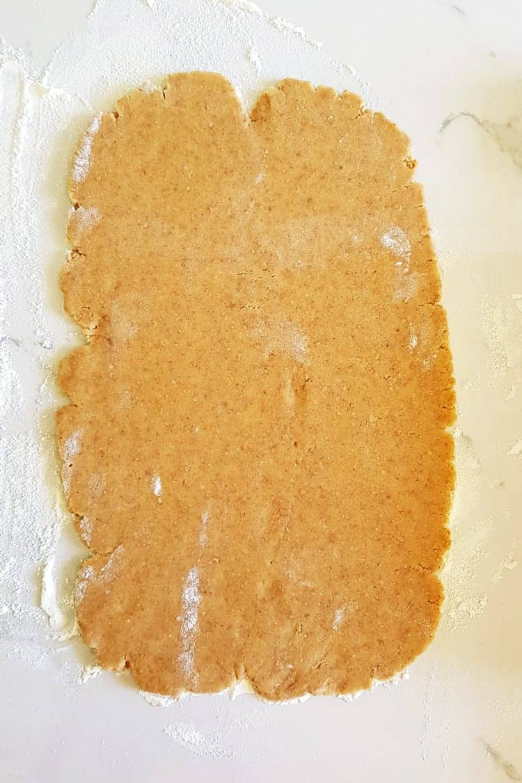 Rolled out homemade graham cracker dough