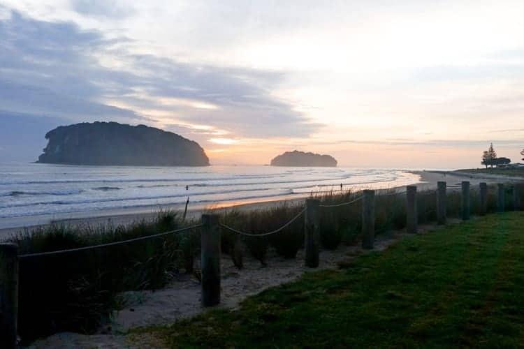Whangamata Beach, New Zealand at sunrise