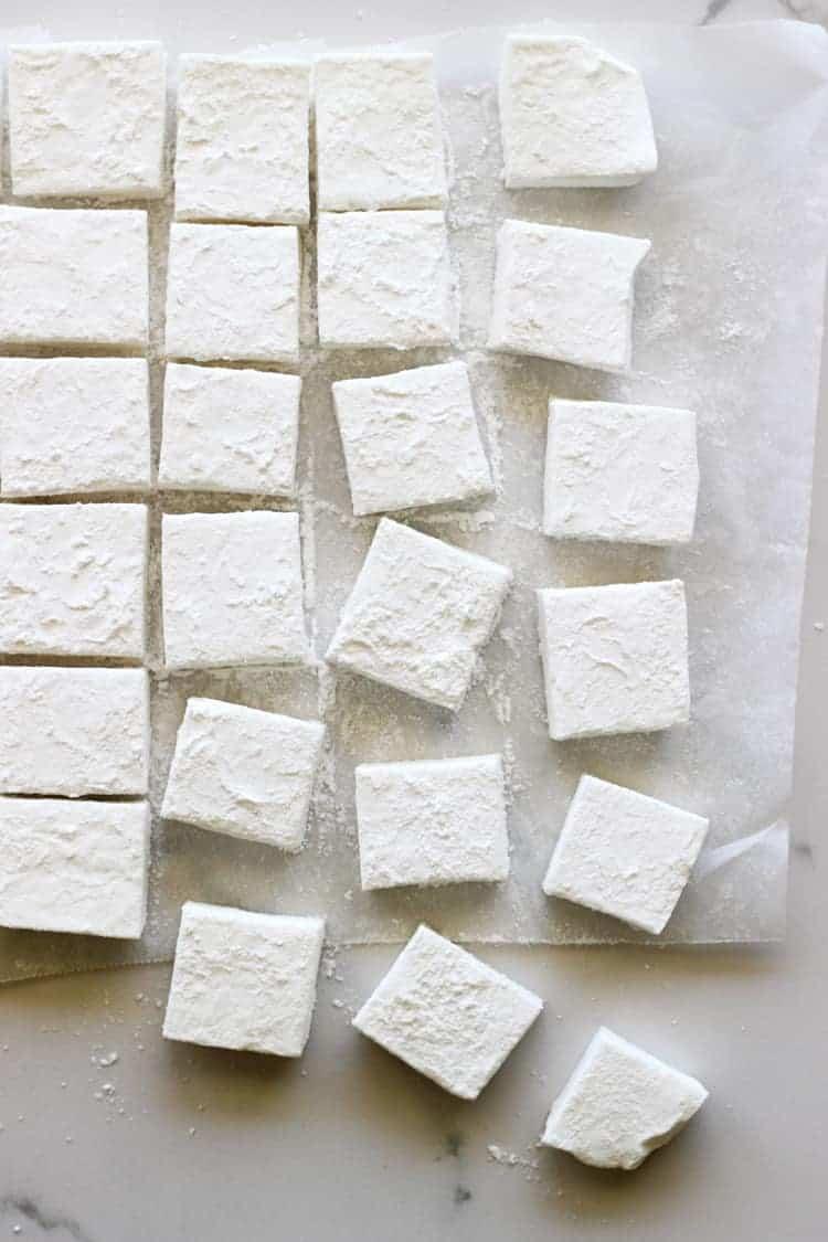 Homemade marshmallows on a baking sheet