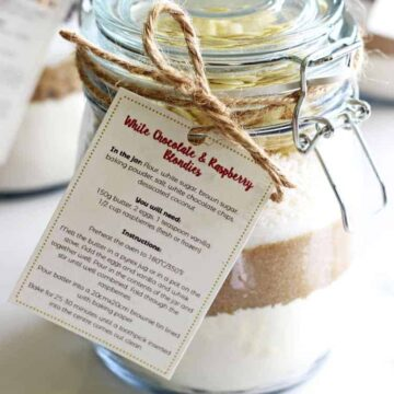 Jar of homemade blondie mix with a label for a homemade gift idea