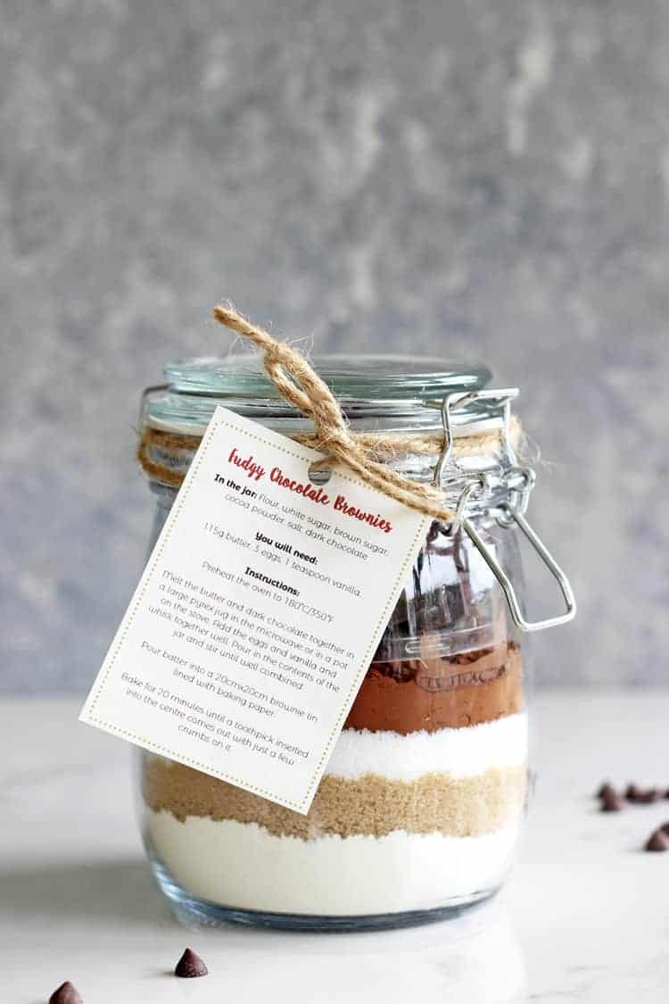 Jar of homemade brownie mix with a label for a homemade gift idea