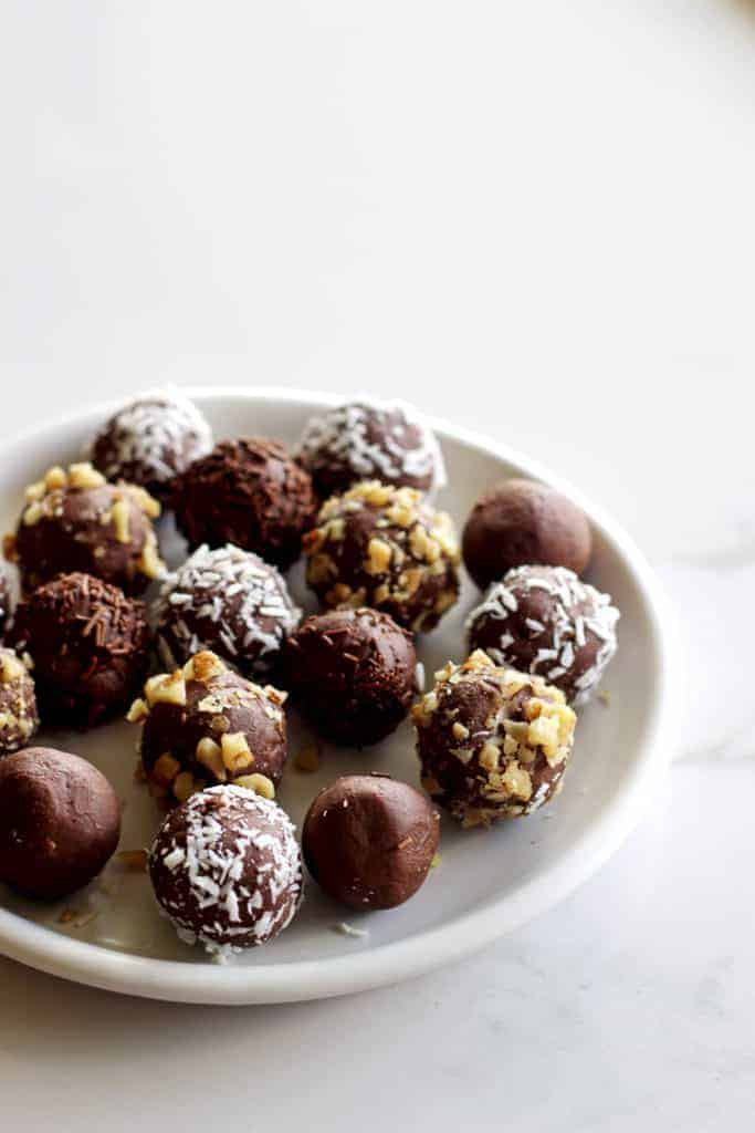 Plate with 2 ingredient chocolate Bailey's truffles