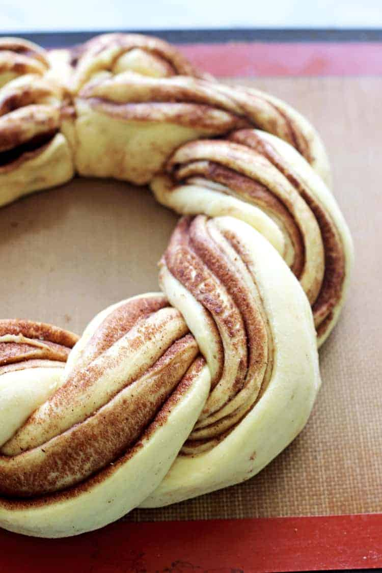 Cinnamon roll wreath ready to bake