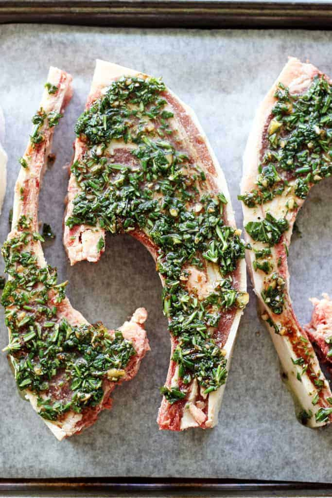 Lamb chops covered in herb marinade
