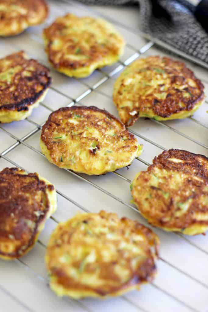 Cooling rack with zucchini fritters