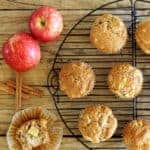 Spiced apple muffins on a wooden background with apples and cinnamon sticks plus text overlay
