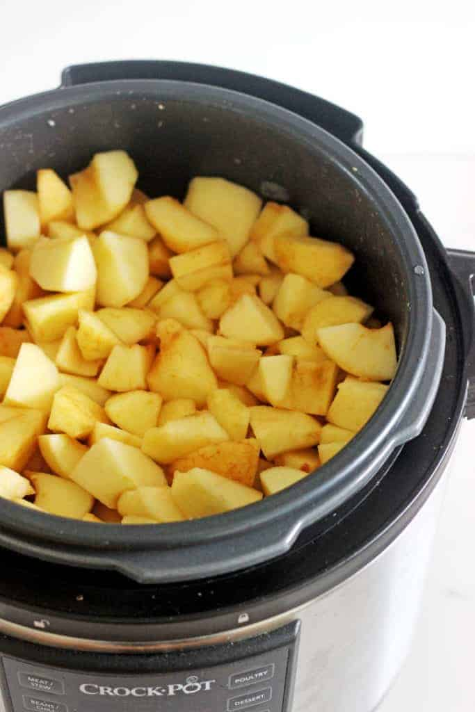 Instant pot with chopped apples