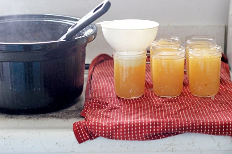 Filling jars of applesauce to can