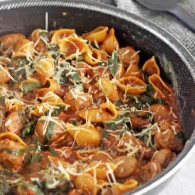 Pan with sausage pasta meal