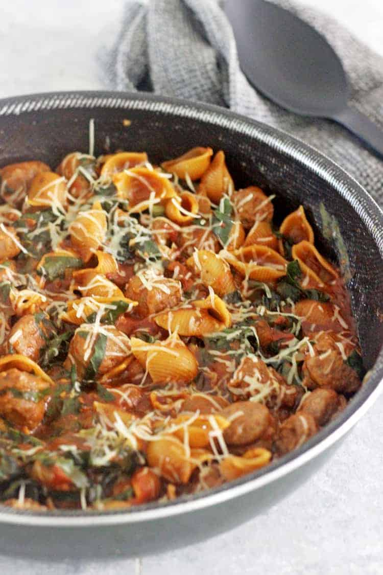 Pan with sausage pasta meal
