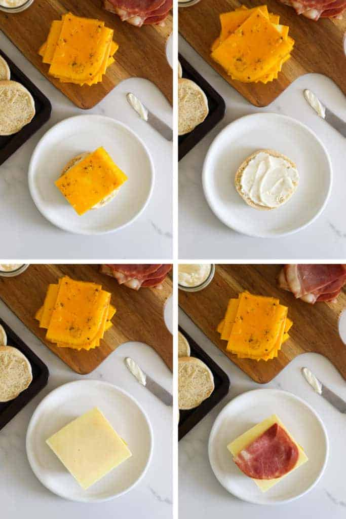 Collage image of assembling a homemade bacon and egg mcmuffin