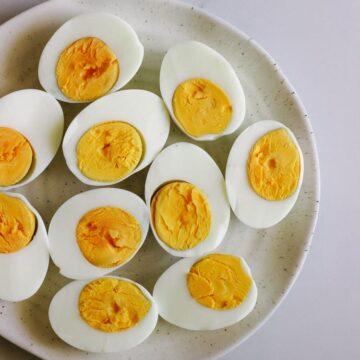 Plate of hard boiled eggs