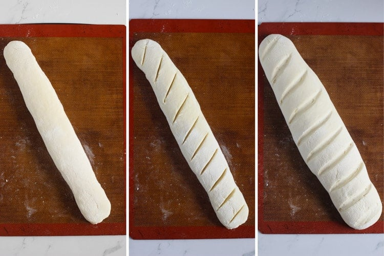 Collage of French bread rising