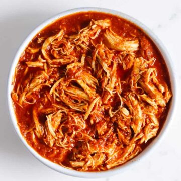 Shredded chipotle chicken in a bowl