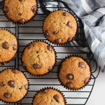 Zucchini muffins on a cooling rack