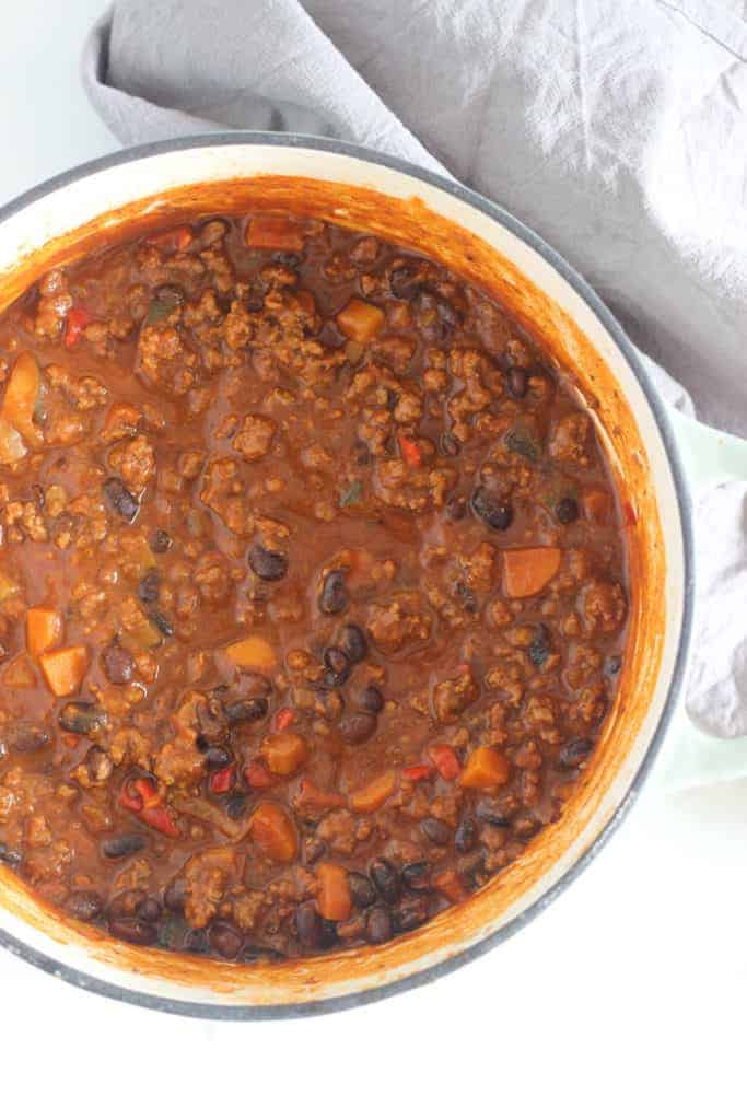 Pot of homemade chili con carne