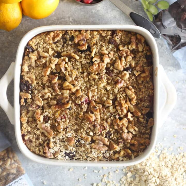 Mixed berry baked oatmeal in white oven dish