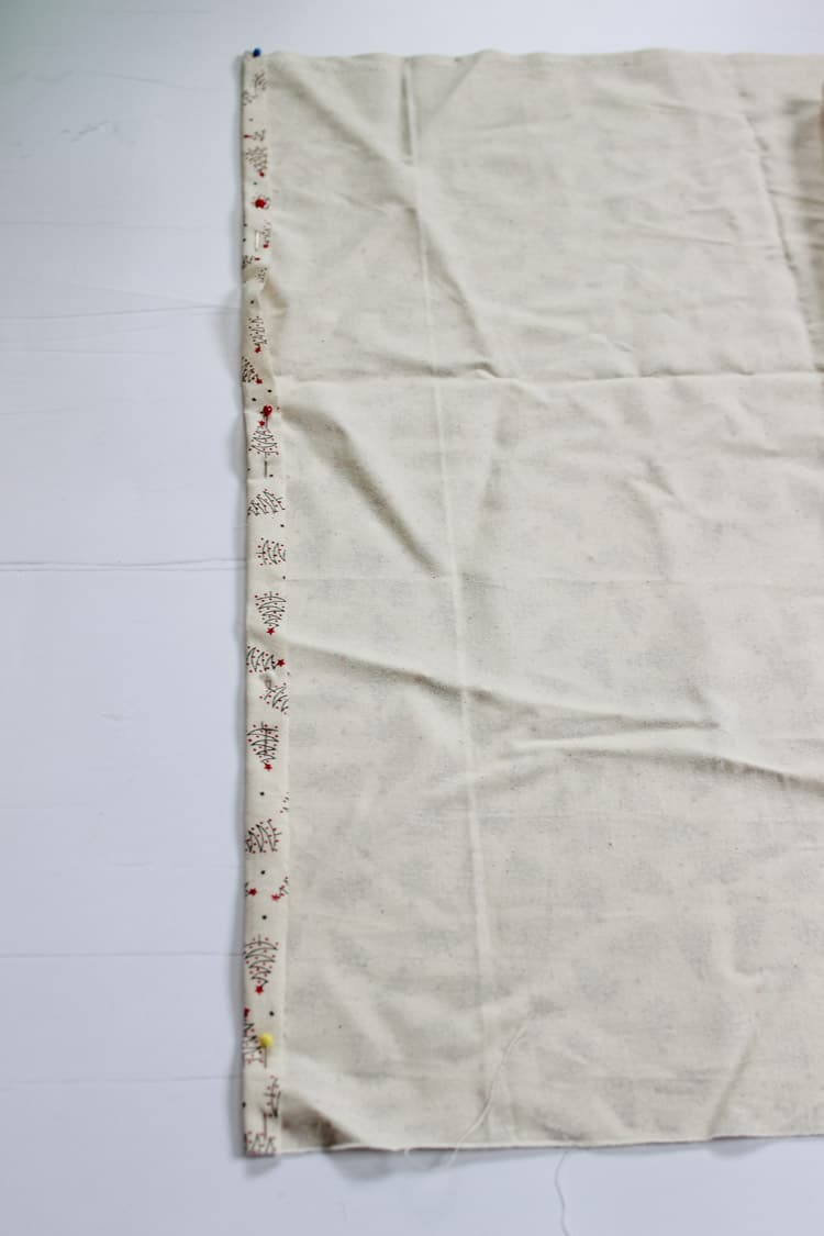 Piece of fabric with measurements for Santa Sack