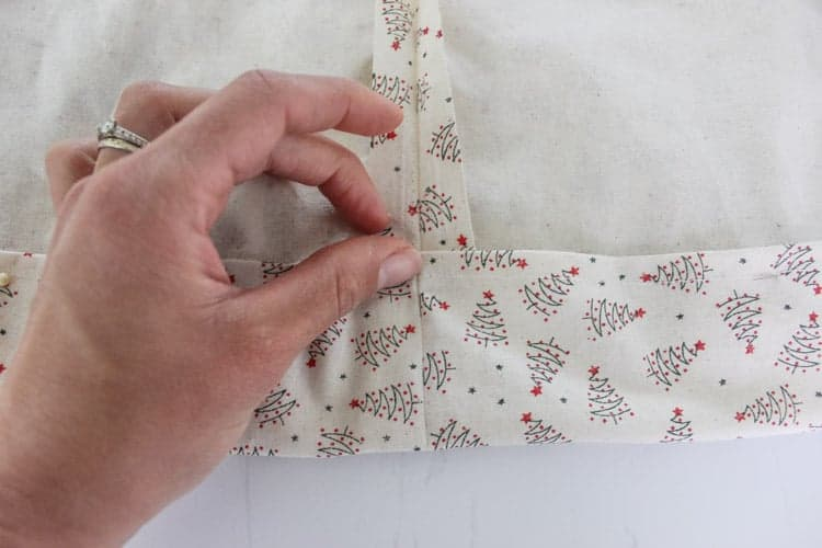 Close up of folded over fabric for Santa Sack