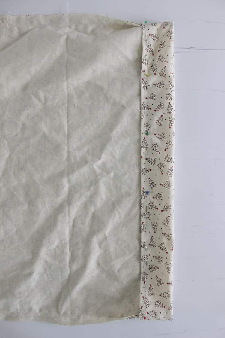 Pinned fabric for Santa Sack