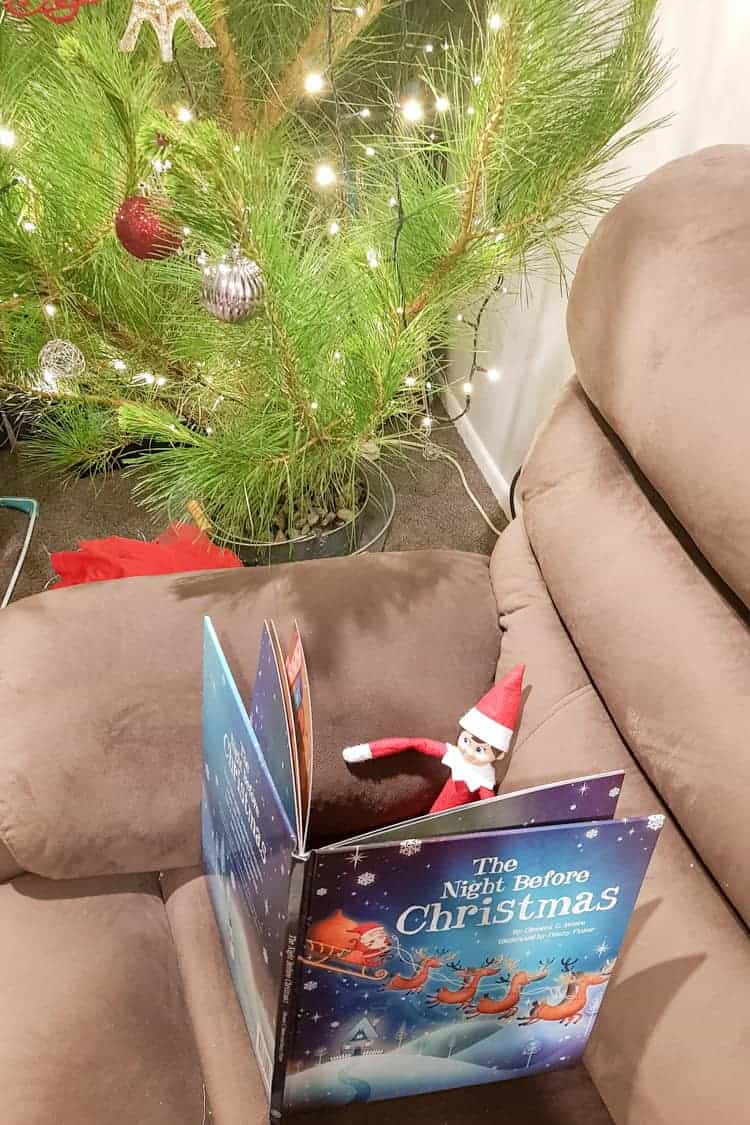 Elf on the shelf reading the night before Christmas