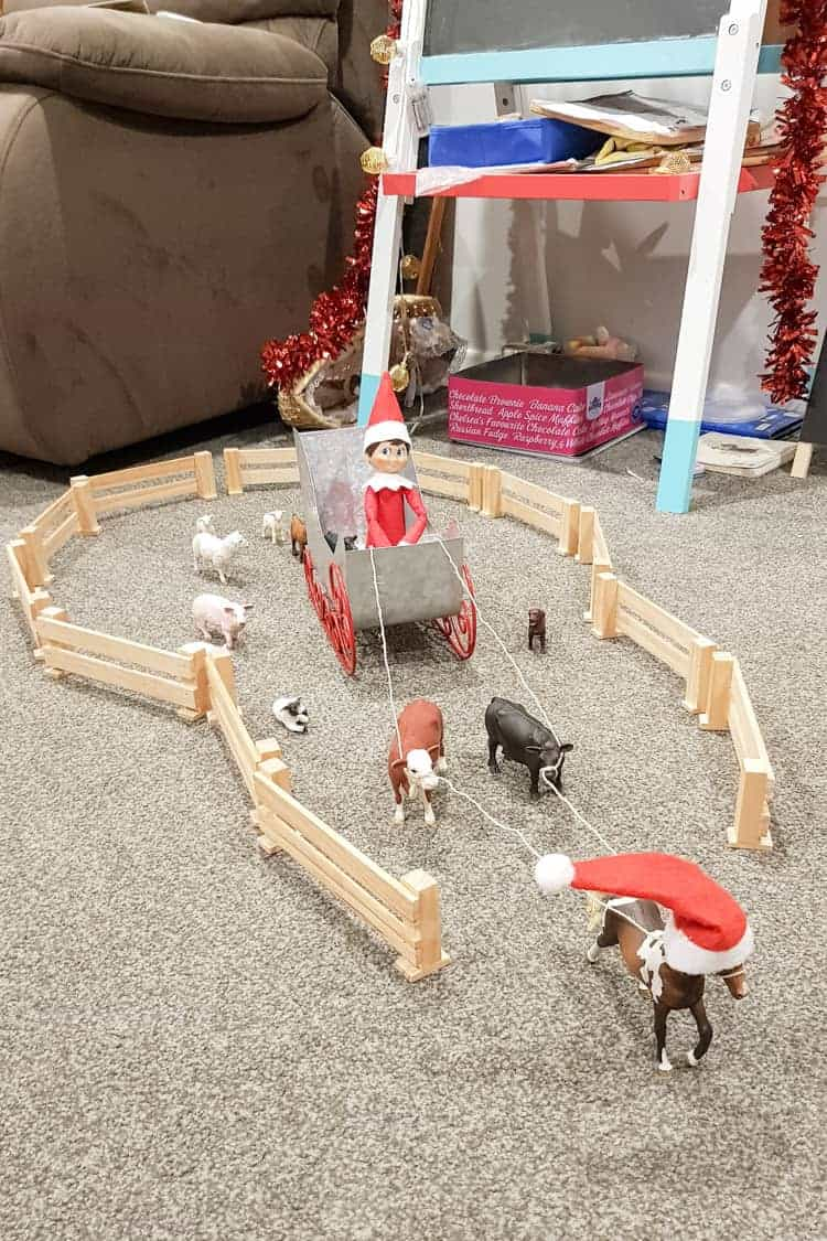 Elf on the shelf helping the animals escape