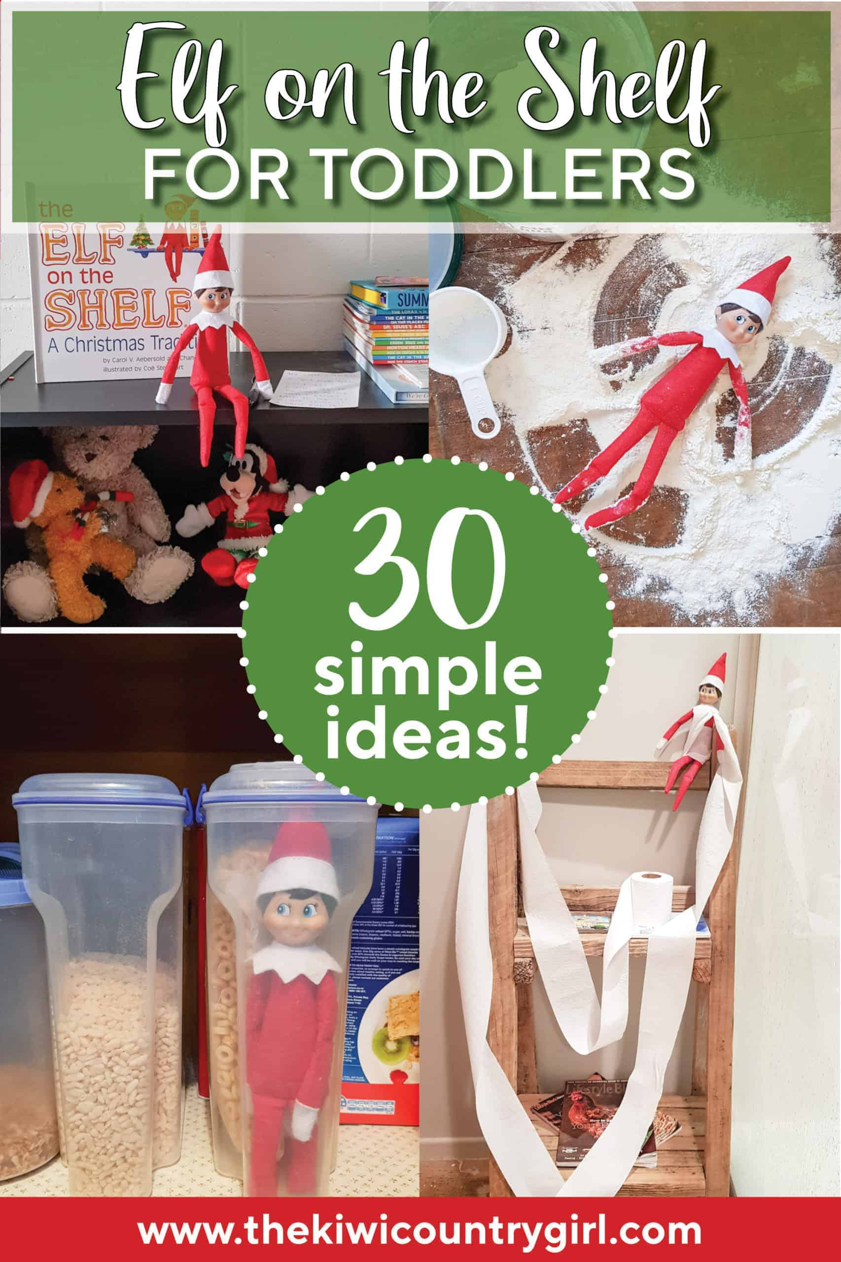 Collage with elf on the shelf ideas for toddlers