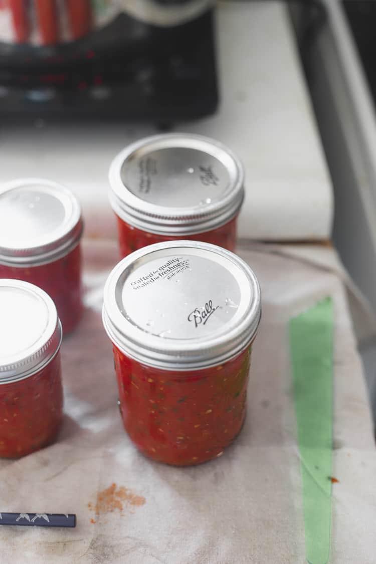 Jars of tomato salsa