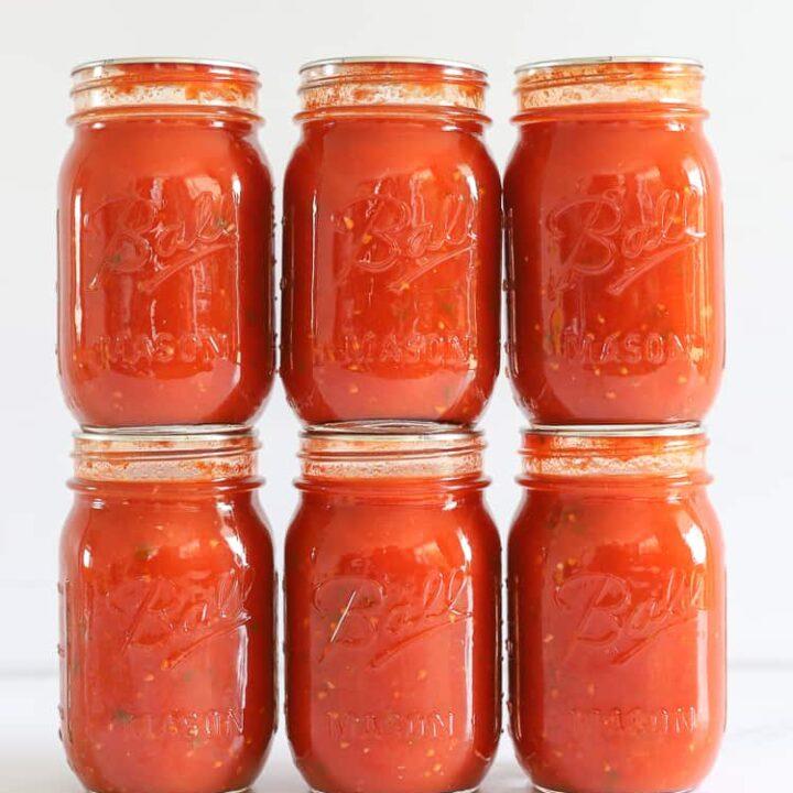 6 pint jars of homemade tomato basil pasta sauce