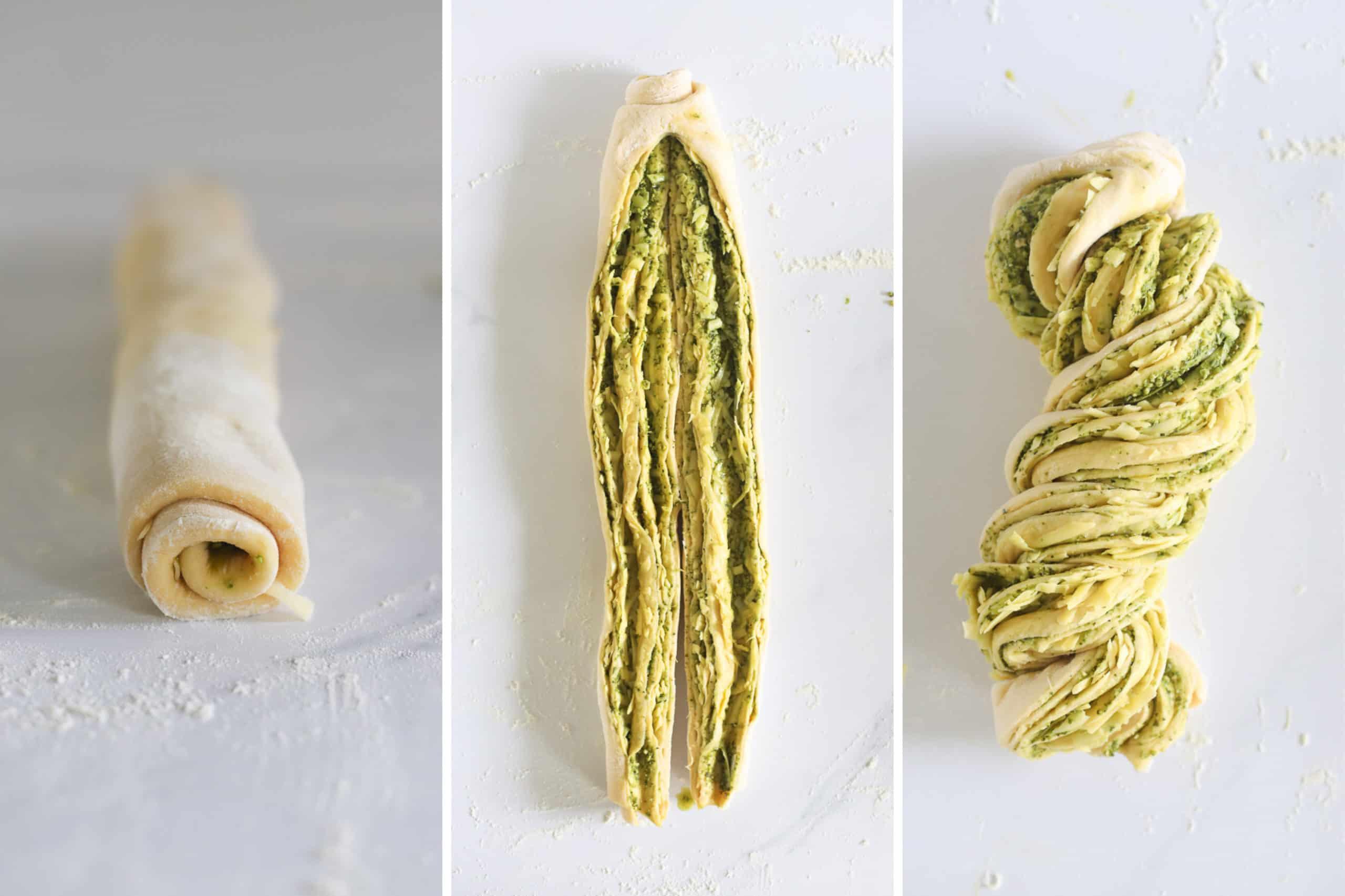 Pesto pull apart bread ready to be braided