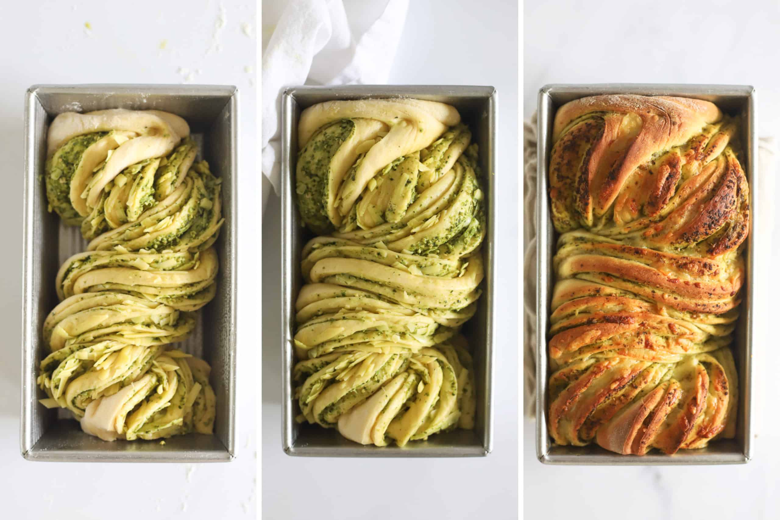 Collage of shaped loaf of pull apart bread rising and baked