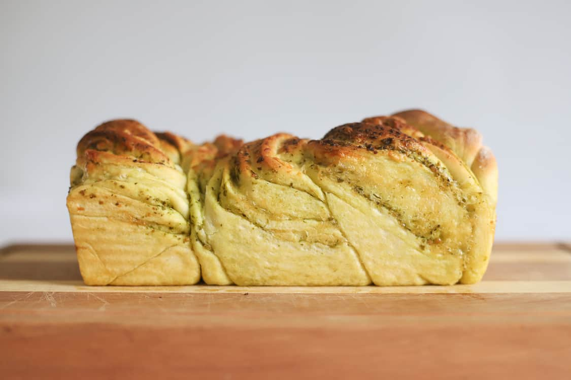 Loaf of baked pull apart bread