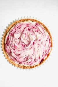 Boysensberry white chocolate cheesecake in springform cake tin