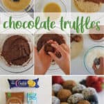 Collage image of chocolate truffles being made